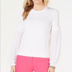 Micheal Kors Women's Sheer Sleeve White Sweater
